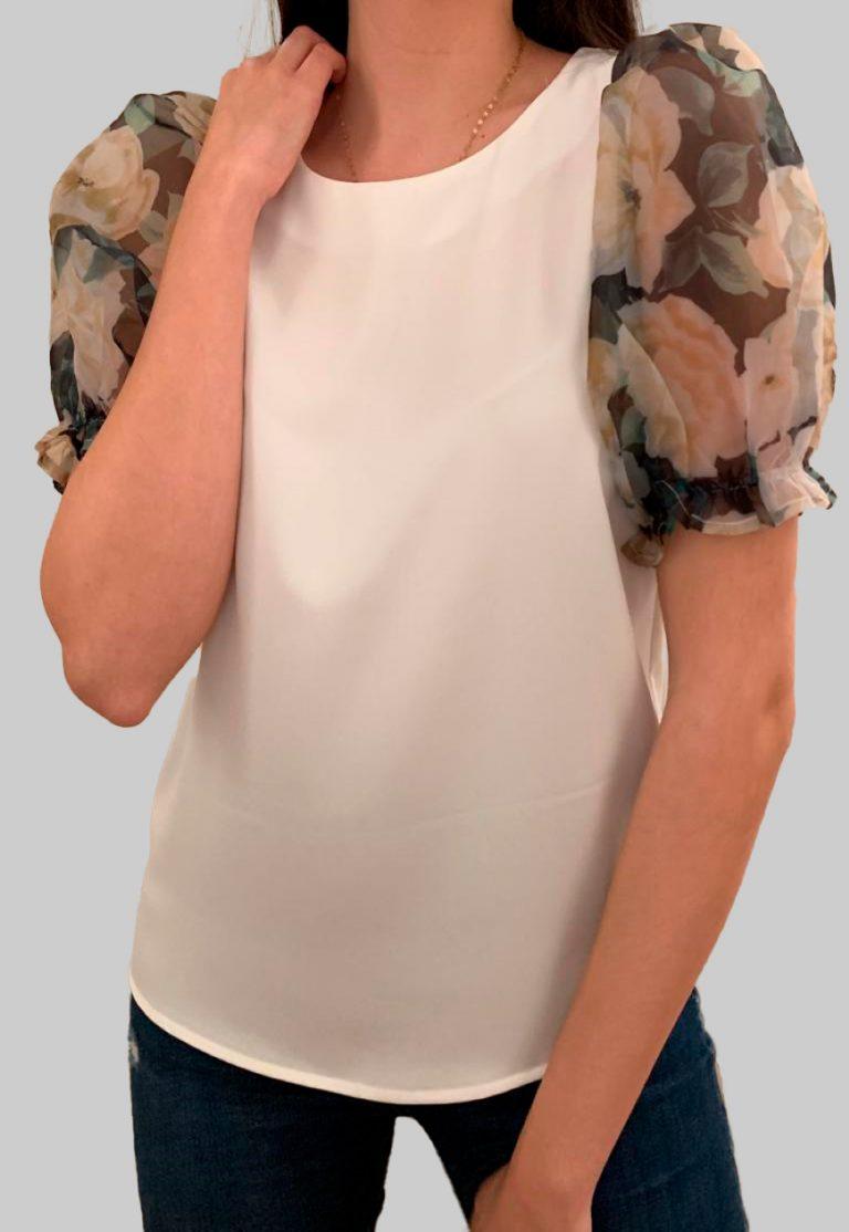 Blusa manga corta en blanco con Manga Abullonada Estampado Floral