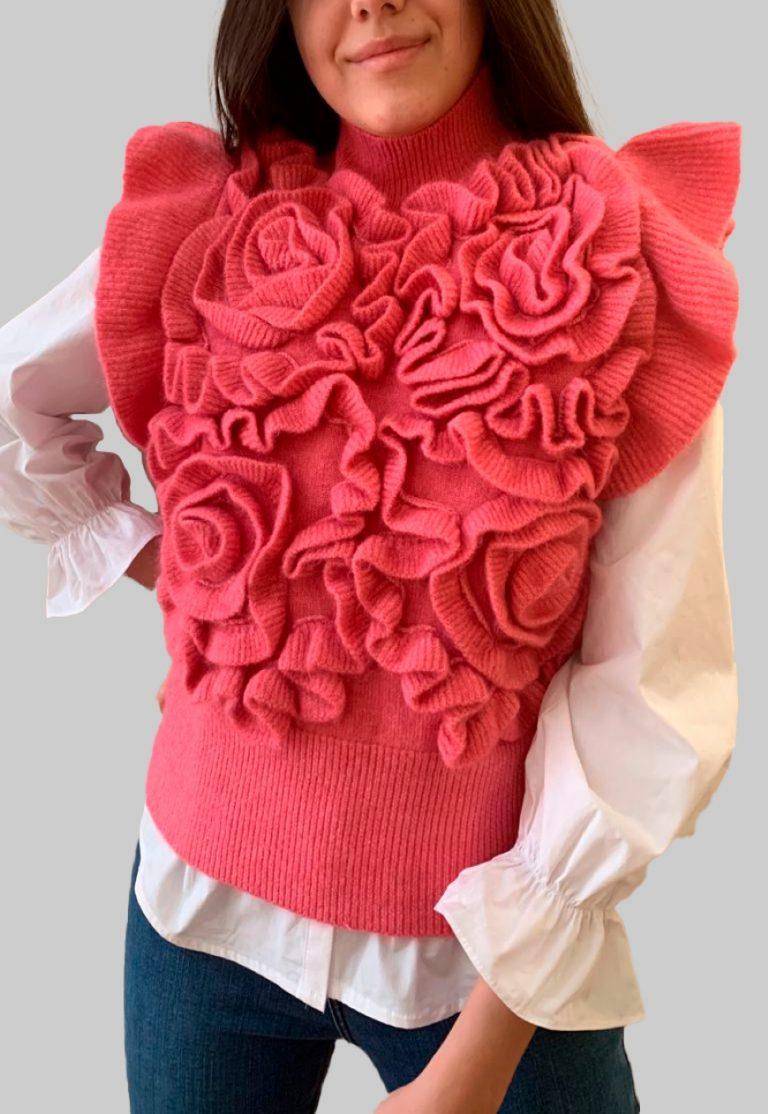 Sueter de Primavera efecto Flores en Rosa sin mangas